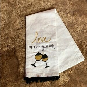 """""""Love the wine you're with"""" tea towel"""